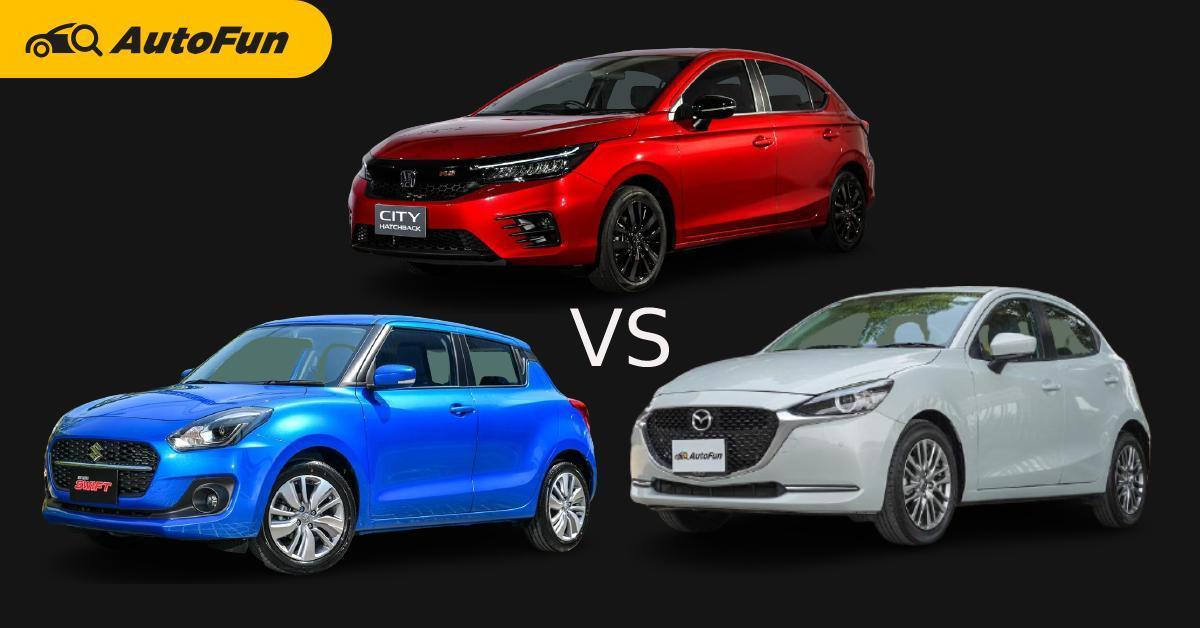 Honda City Hatchback, Suzuki Swift, Mazda 2 Hatchback คันไหนคุ้ม คันไหนโดนใจ 01