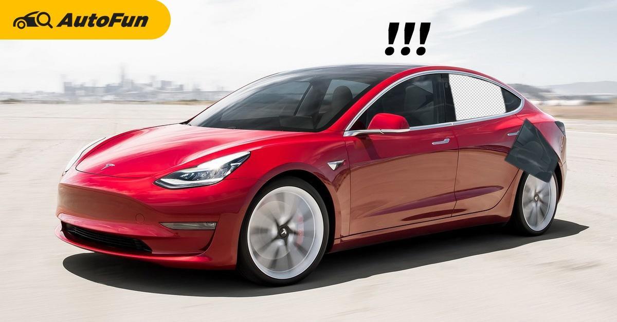 เอาอีกแล้ว! กระจกหลัง Tesla Model 3 หลุดขณะกำลังวิ่ง 01